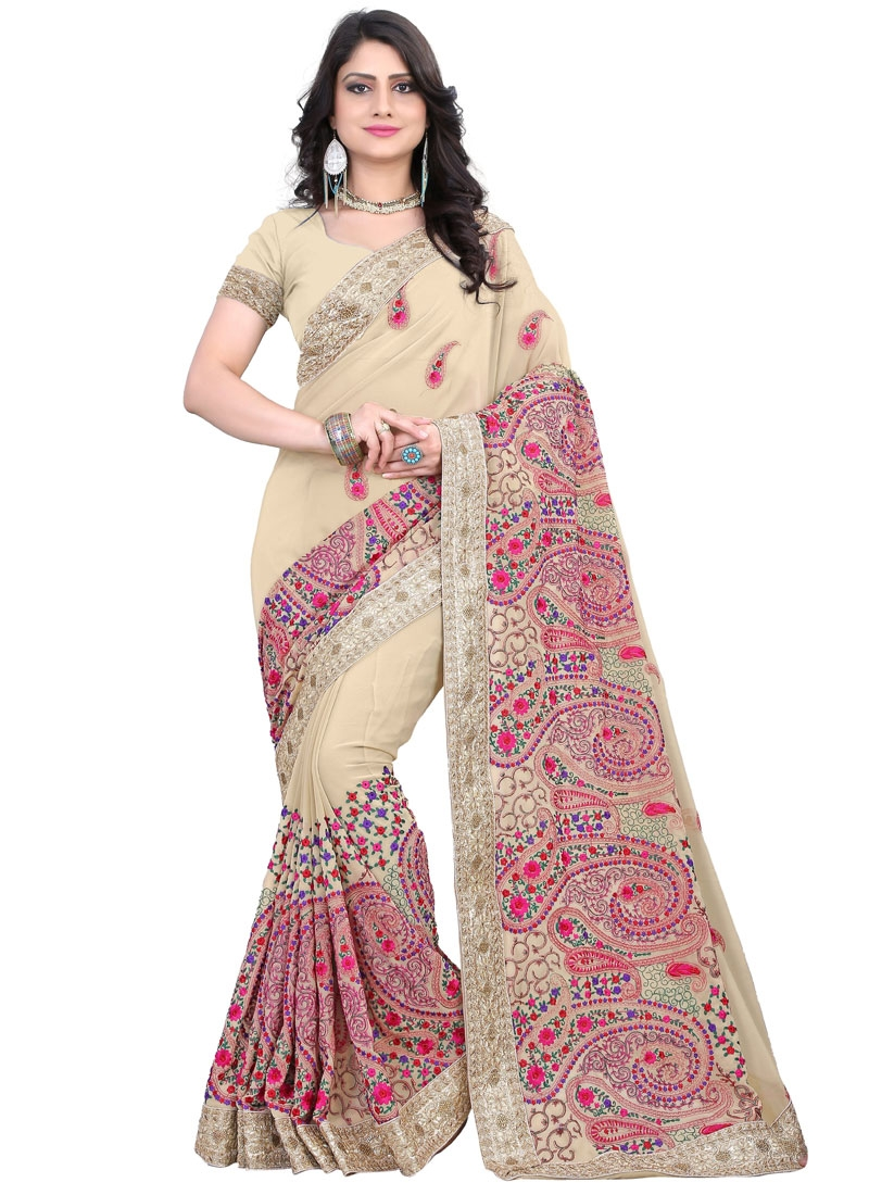Incredible Floral Work Faux Georgette Wedding Saree