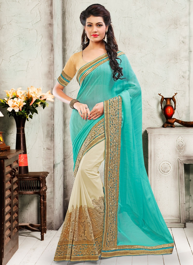 Incredible Lace Work Half N Half Designer Saree