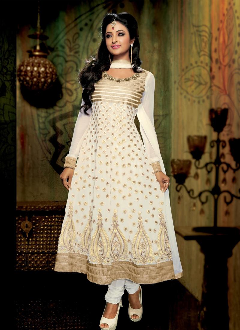Incredible Off White Color Anarkali Salwar Kameez
