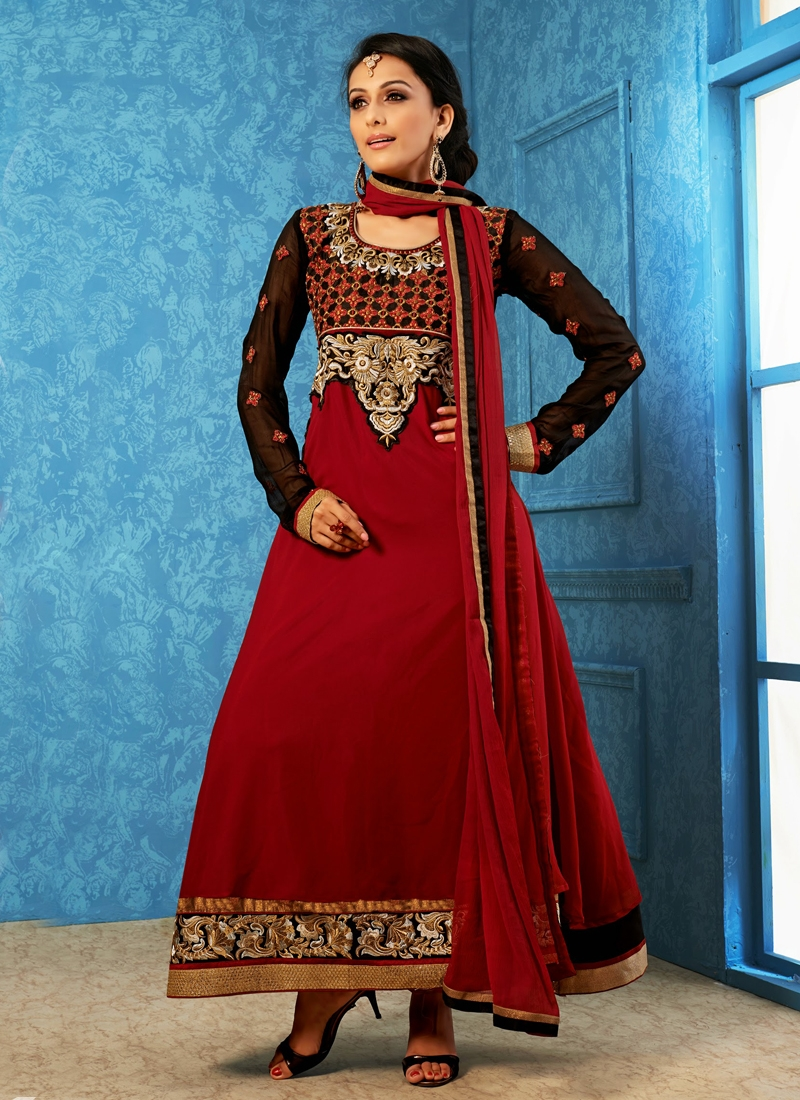 Incredible Patch And Resham Work Anarkali Suit