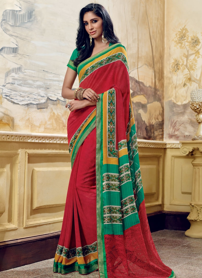 Incredible Red Color Printed Casual Saree