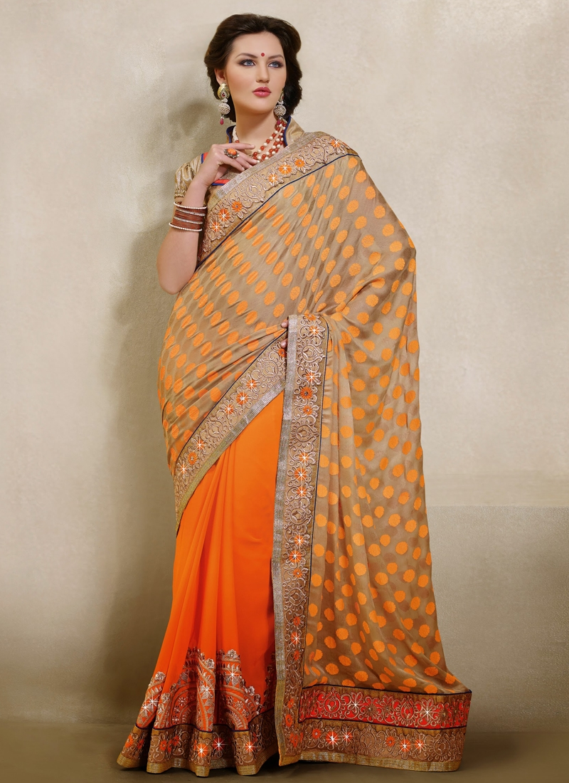 Incredible Resham And Stone Work Half N Half Saree