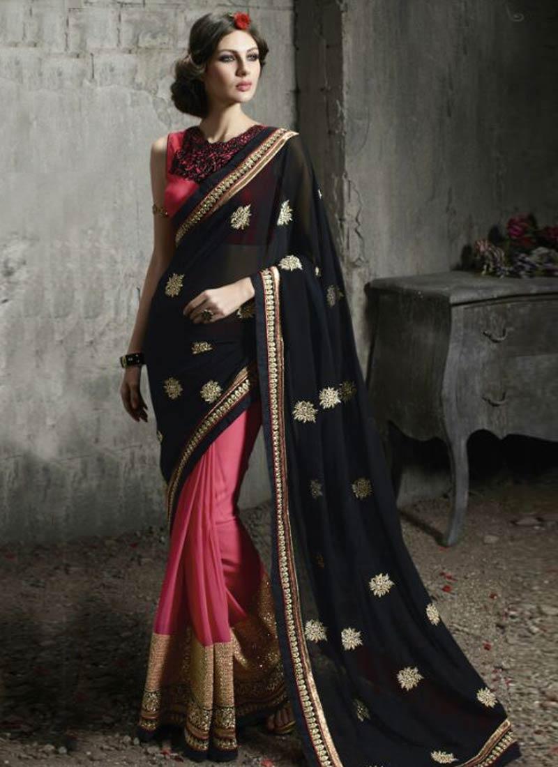 Incredible Stone Work Black Color Half N Half Designer Saree