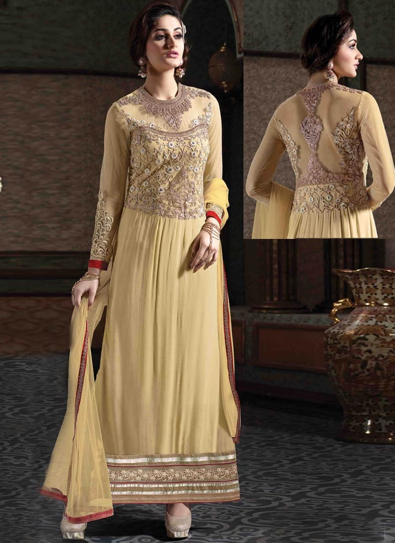 Incredible Stone Work Cream Color Designer Salwar Suit