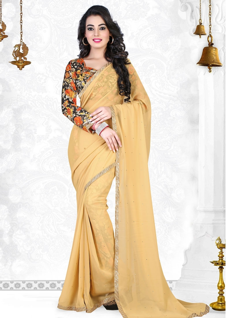 Incredible Stone Work Faux Georgette Casual Saree