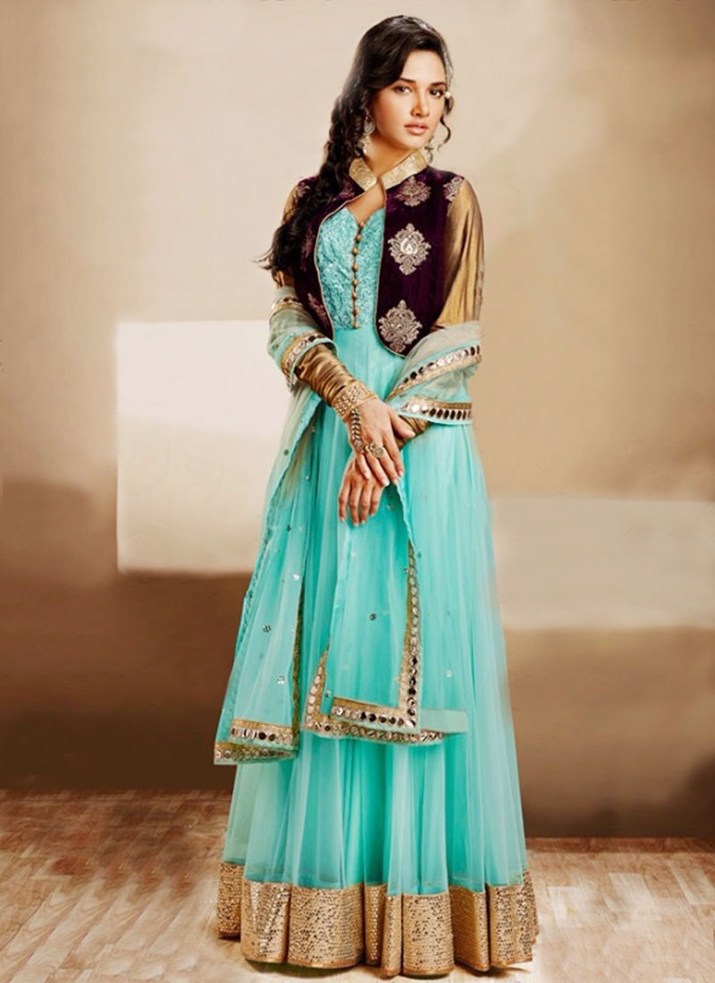 Incredible Turquoise Color Jacket Style Wedding Suit