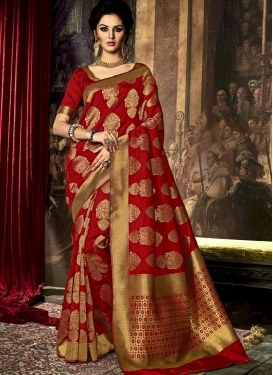 Innovative Art Raw Silk Contemporary Style Saree For Ceremonial