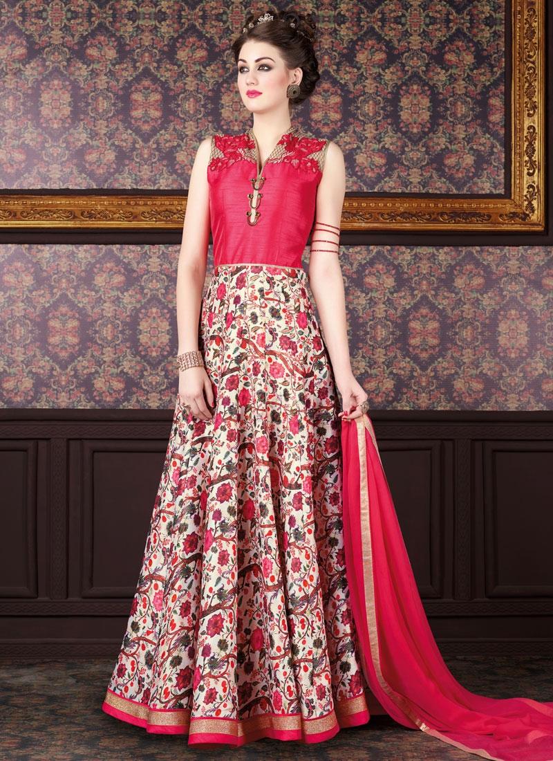 Innovative Art Silk Lace Work Long Length Anarkali Salwar Suit