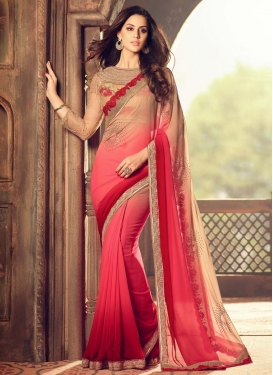 Innovative Beige and Red Embroidered Work Faux Georgette Designer Traditional Saree