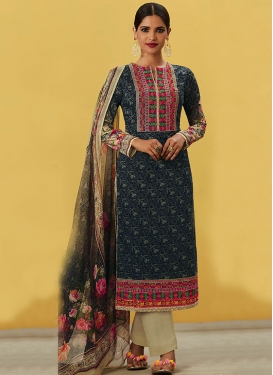 Innovative  Black and Cream Pakistani Straight Salwar Kameez