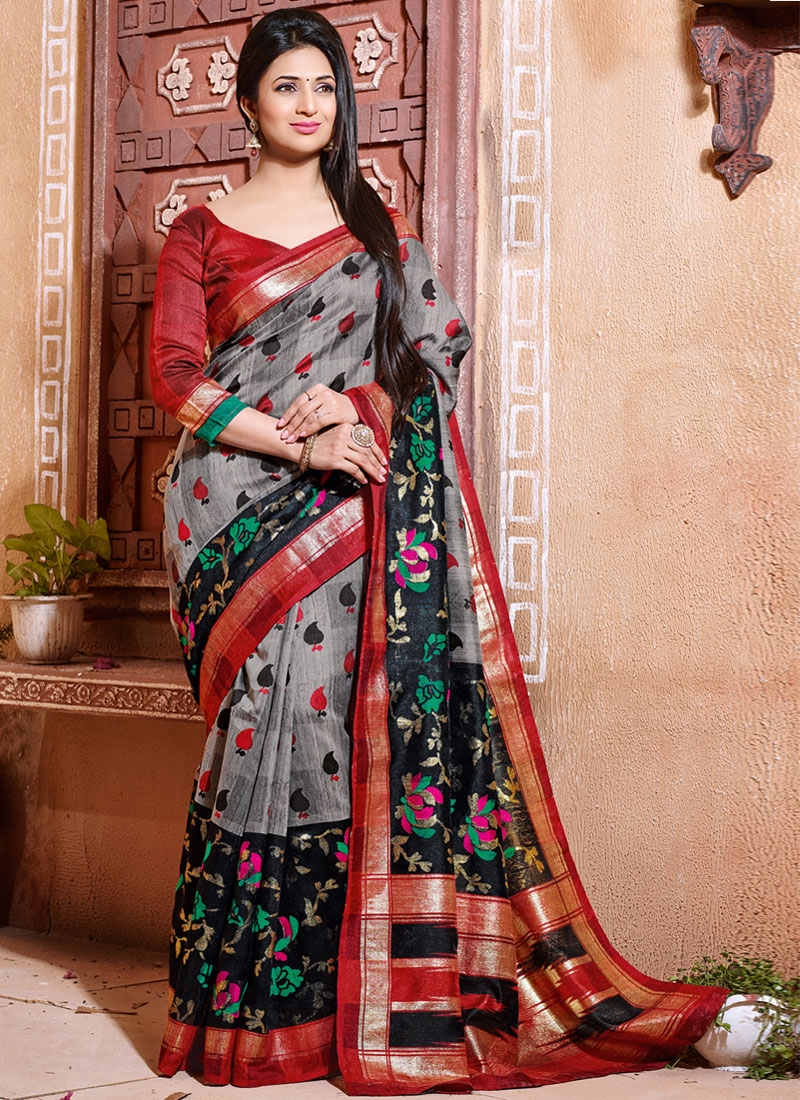 Innovative Black And Grey Color Divyanka Tripathi Casual Saree