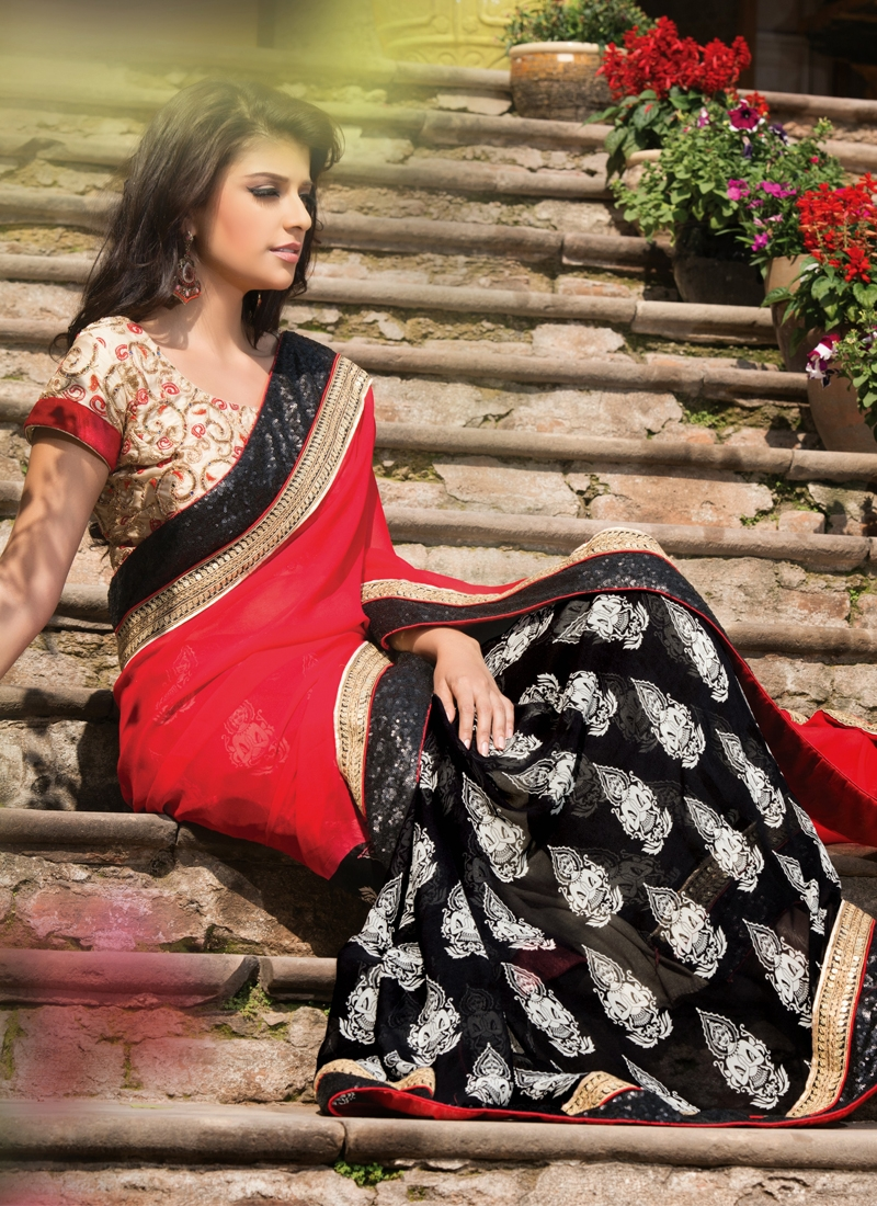 Innovative Black And Red Color Half N Half Saree