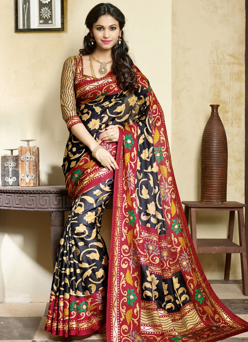 Innovative Black Color Art Silk Casual Saree