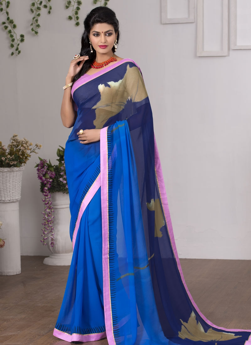 Innovative Blue And Navy Blue Color Casual Saree