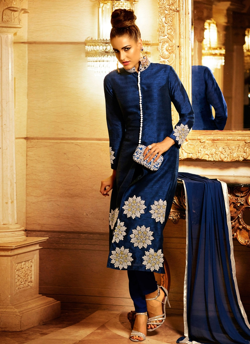 Innovative Booti Work Navy Blue Color Pant Style Designer Suit