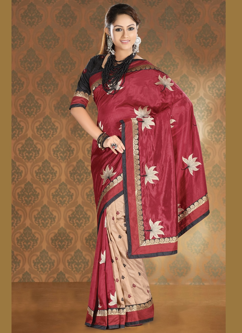 Innovative Crimson And Beige Party Wear Saree