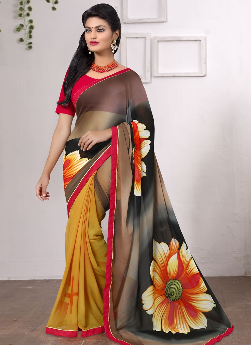Innovative Faux Georgette Mustard Color Casual Saree