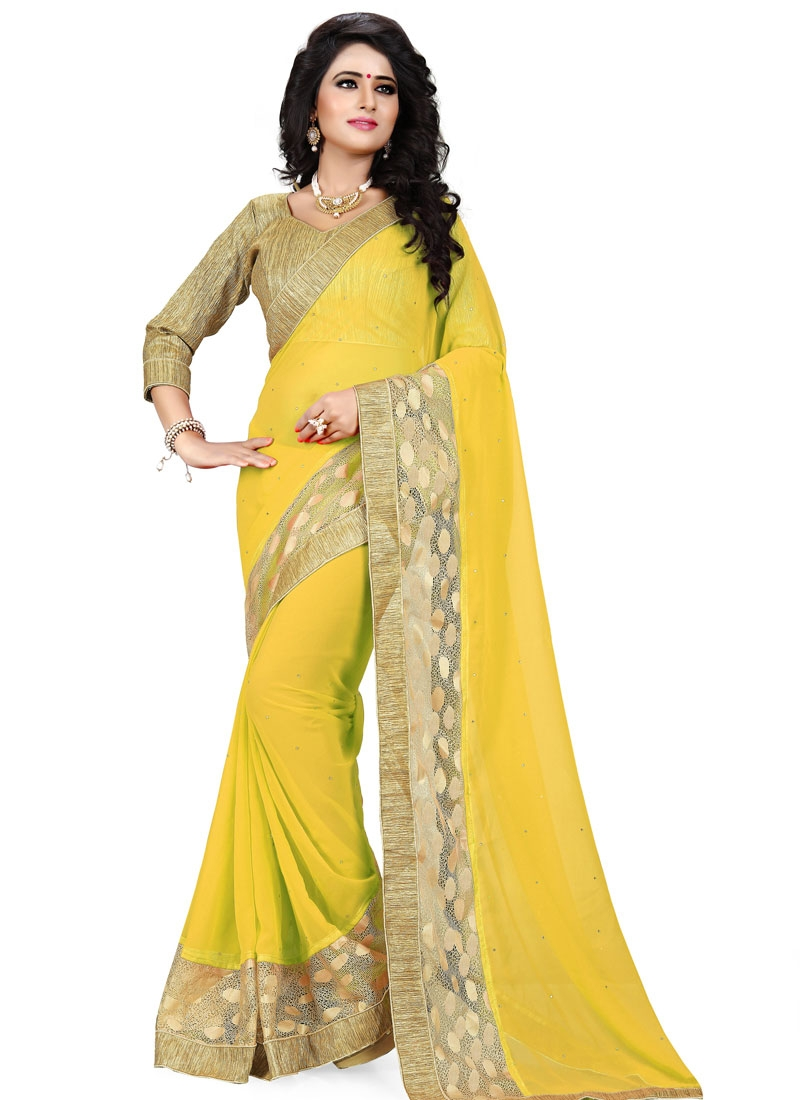 Innovative Faux Georgette Stone Work Party Wear Saree