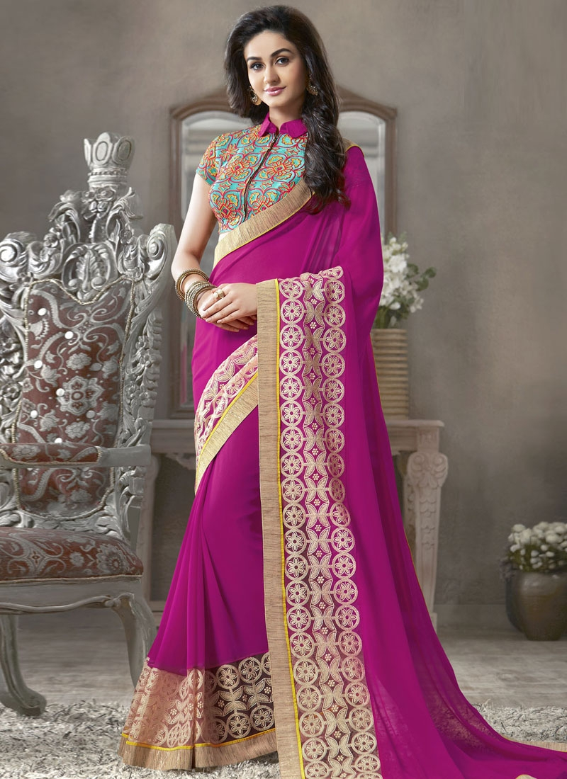 Innovative Fuchsia Color Resham Work Party Wear Saree