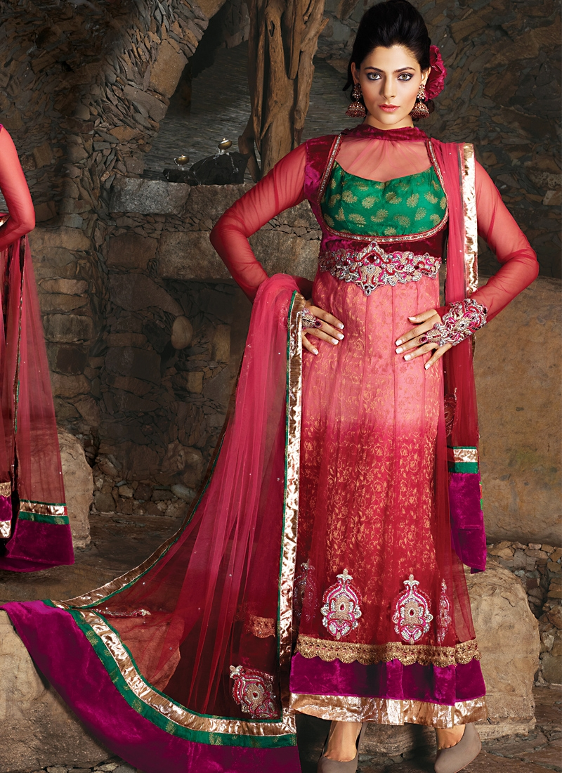 Innovative Magenta And Salmon Salwar Kameez