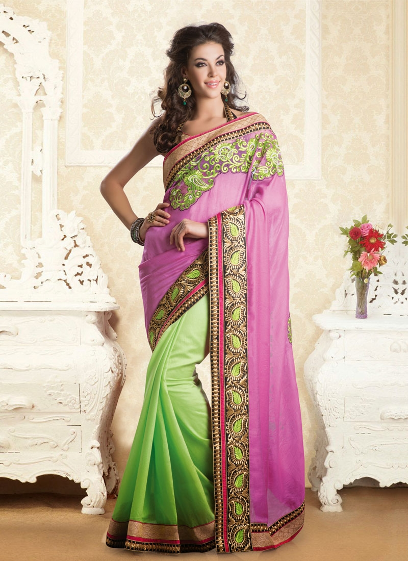 Innovative Mint Green And Lavender Color Half N Half Saree