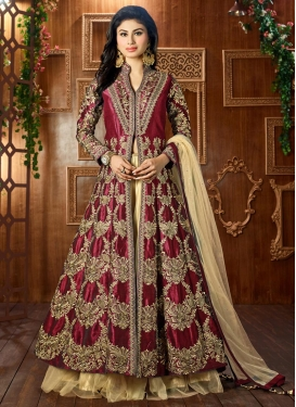 Innovative Mouni Roy Cream and Maroon Designer Lehenga Choli For Festival