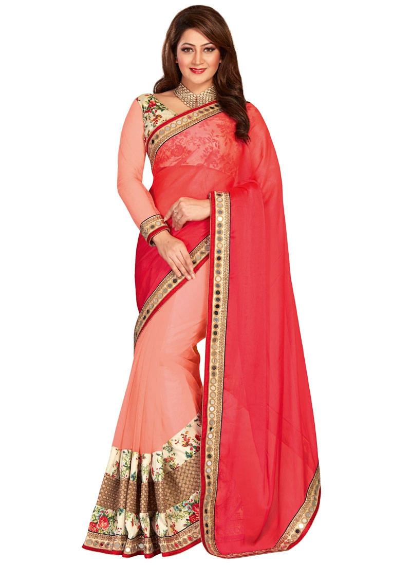 Innovative Patch Border And Resham Work Half N Half Designer Saree