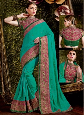 Innovative Rose Pink and Sea Green Trendy Classic Saree
