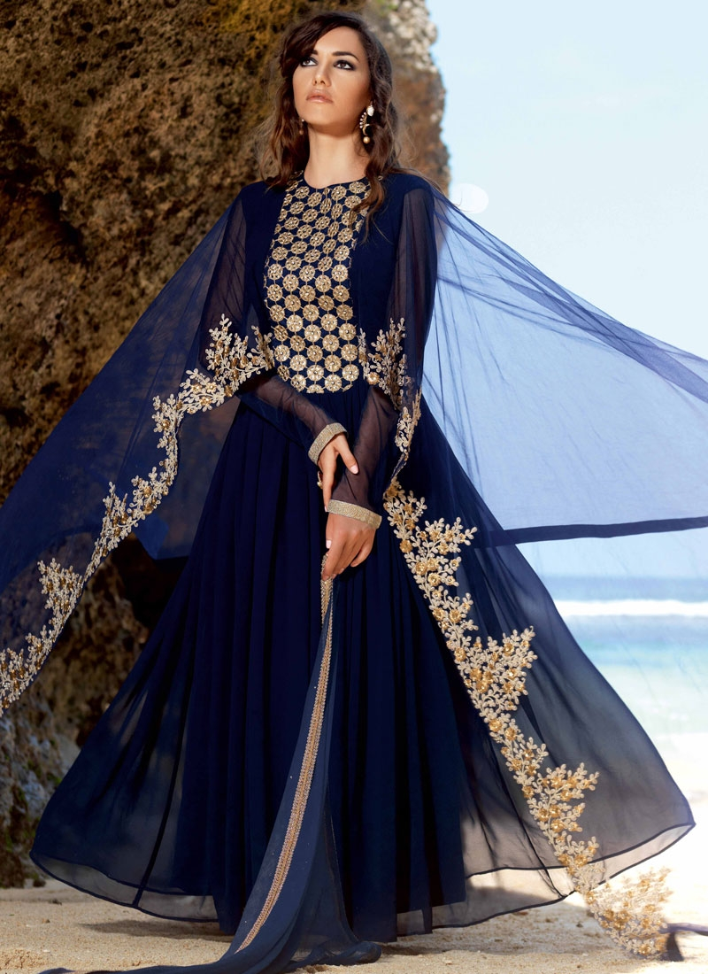 Innovative Sequins And Stone Work Long Length Designer Suit