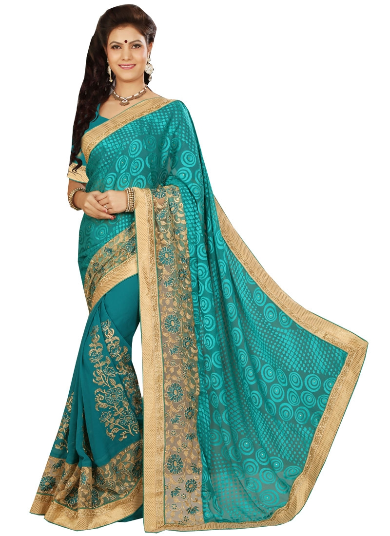 Innovative Stone And Resham Work Designer Saree