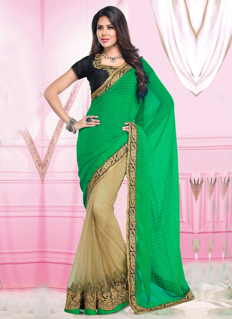 Innovative Stone Enhanced Half N Half Saree