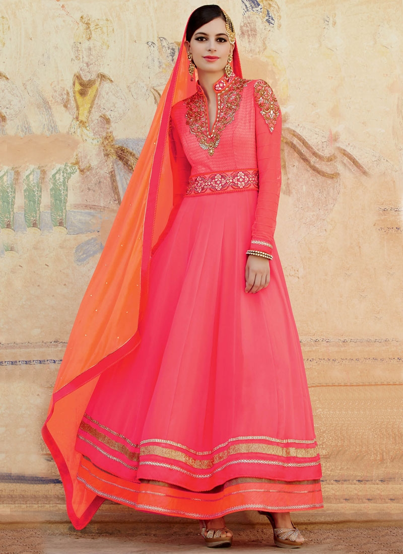 Innovative Stone Work Ankle Length Anarkali Salwar Kameez