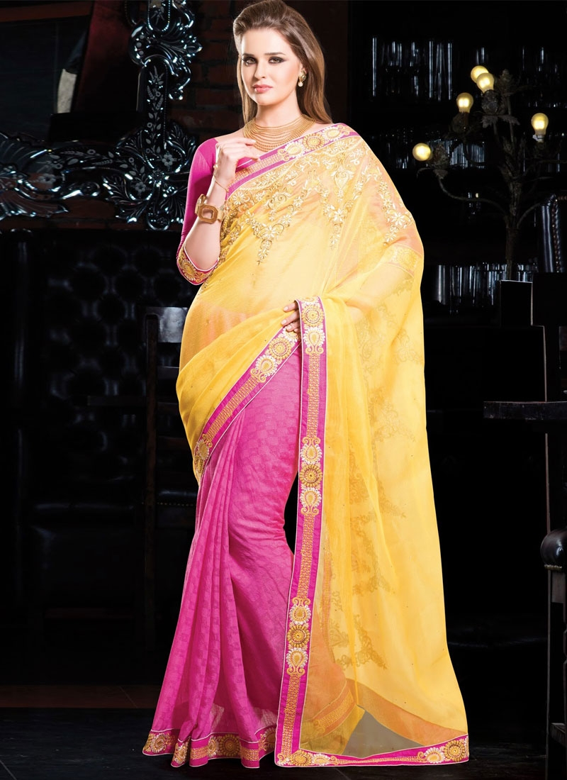 Innovative Yellow And Hot Pink Color Half N Half Designer Saree