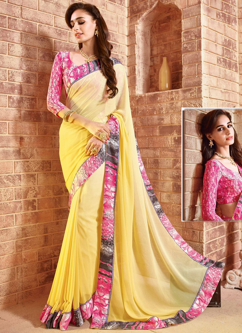 Innovative Yellow Color Party Wear Saree
