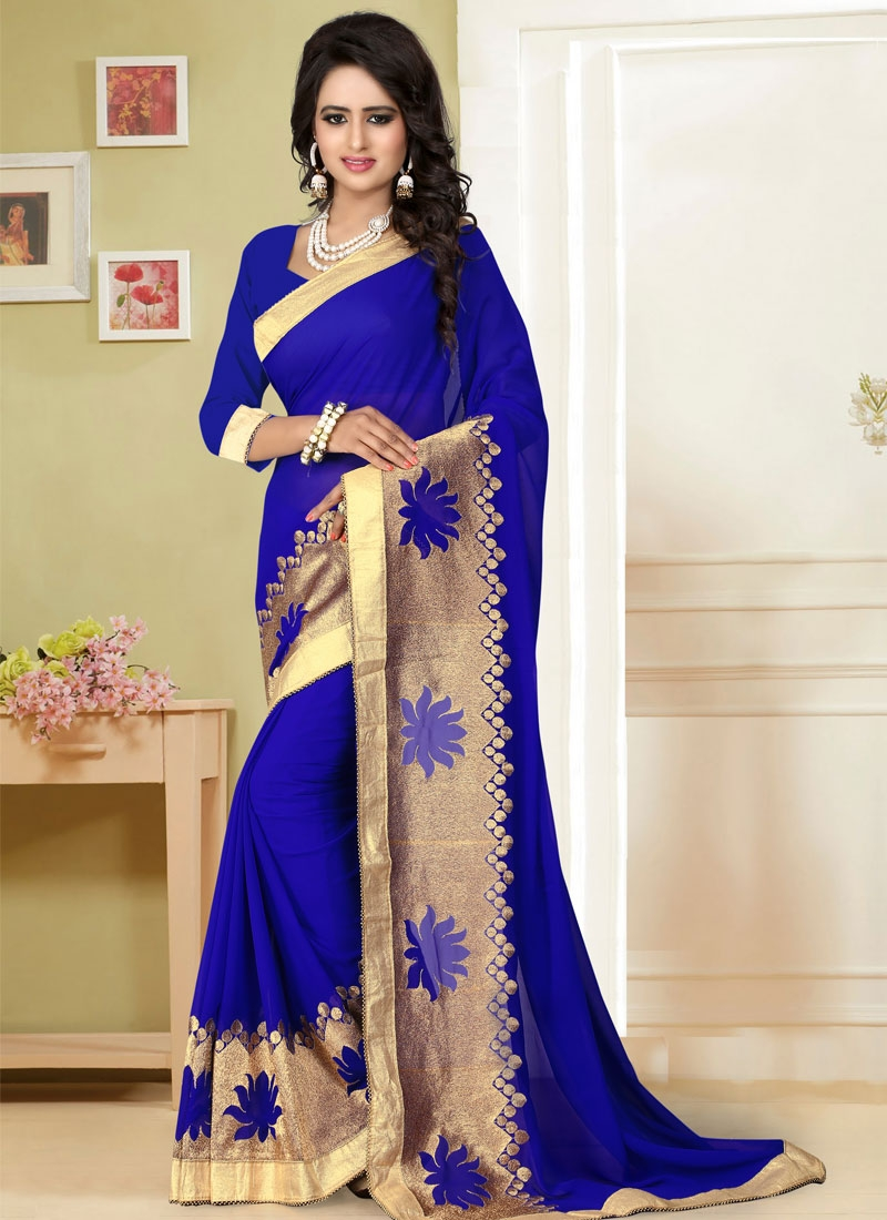 Innovative Zari Work Blue Color Party Wear Saree
