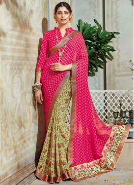 Integral Abstract Print Work Brasso Georgette Cream and Rose Pink Half N Half Trendy Saree For Festival