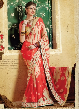 Integral Bandhej Print And Lace Work Party Wear Saree