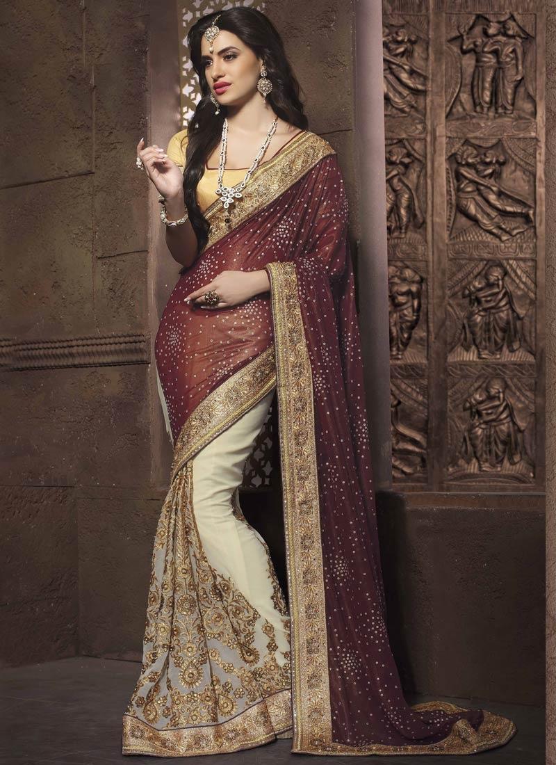 Integral Beads And Stone Work Half N Half Designer Saree
