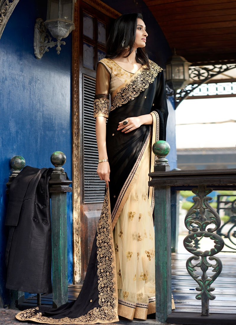 Integral Black Color Stone Work Half N Half Designer Saree