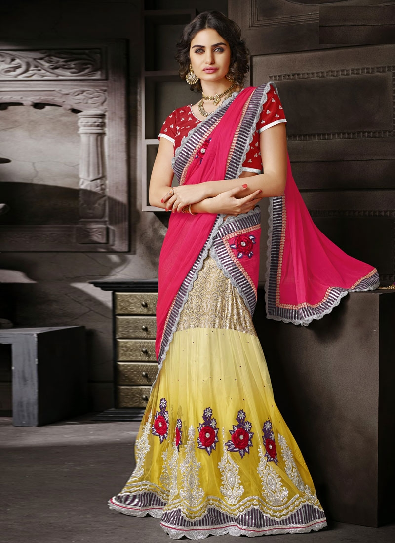 Integral Booti And Floral Work Lehenga Style Saree