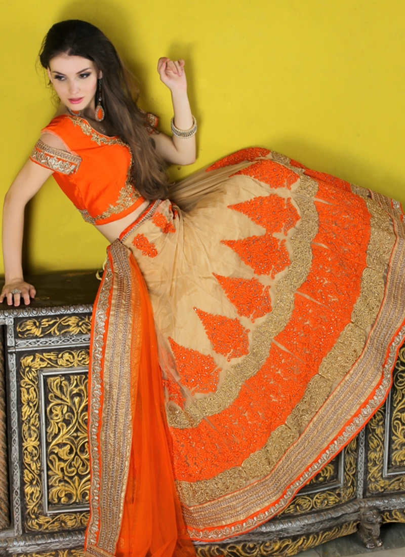 Integral Booti Work Net Wedding Lehenga Choli