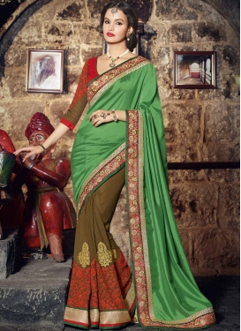 Integral Brown Color Booti Work Party Wear Saree
