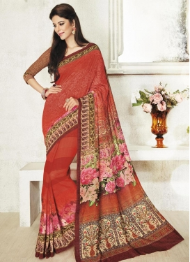 Integral  Cream and Rust Art Silk Contemporary Saree