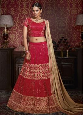 Integral Embroidered Work A Line Lehenga Choli