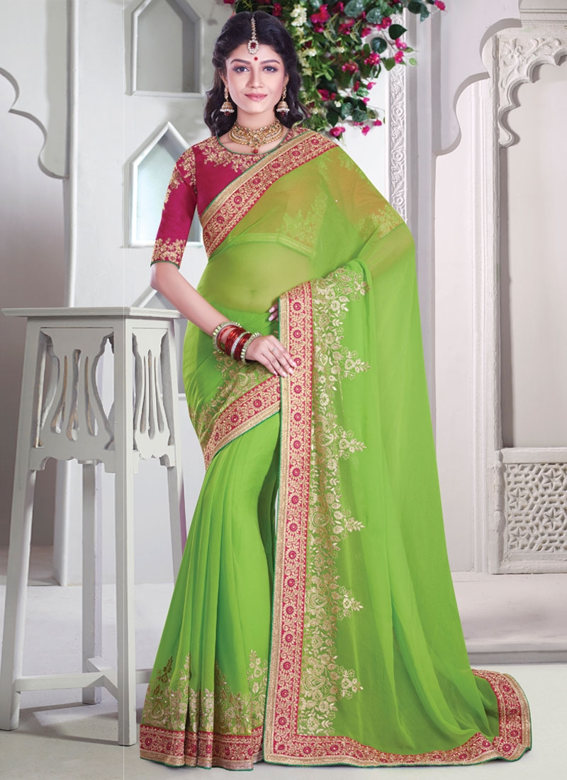 Integral Embroidery And Lace Work Designer Saree