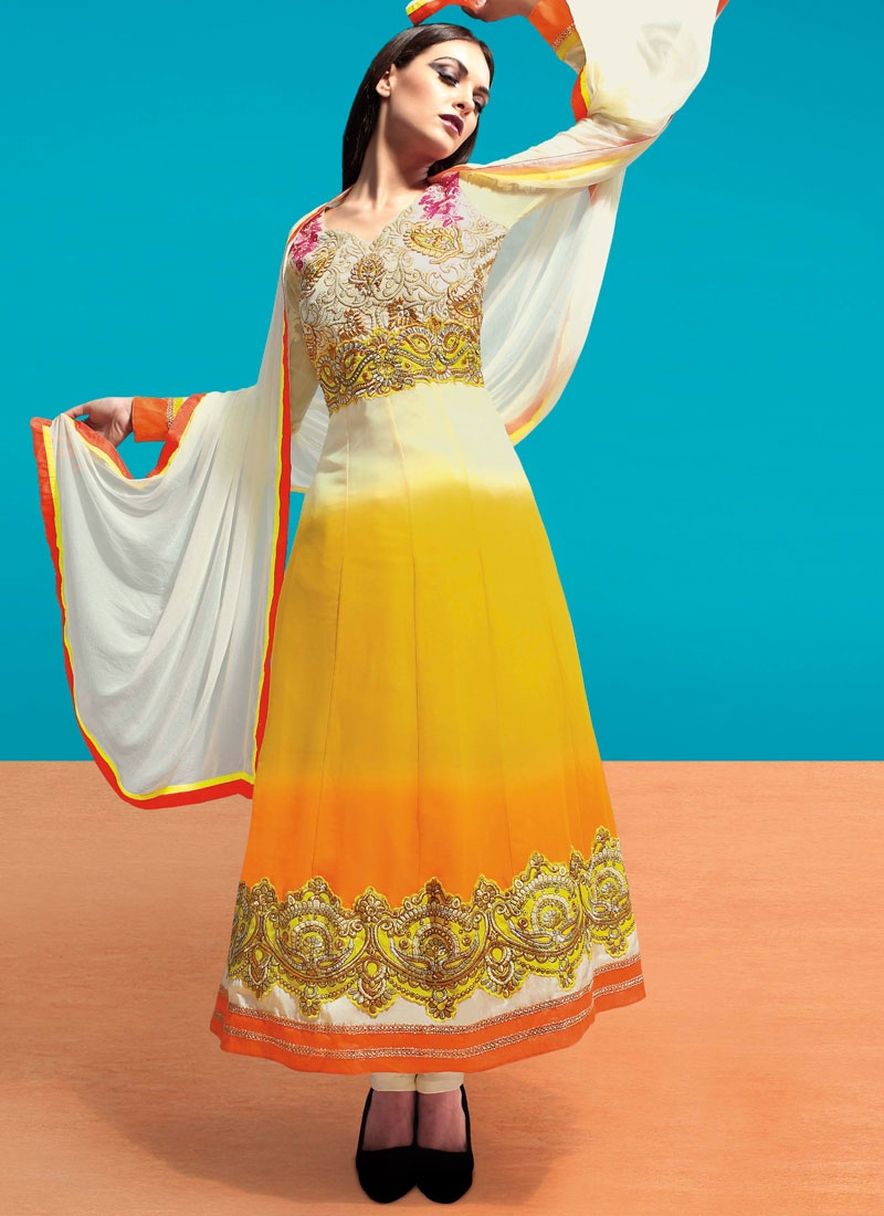 Integral Embroidery Work Ankle Length Anarkali Suit