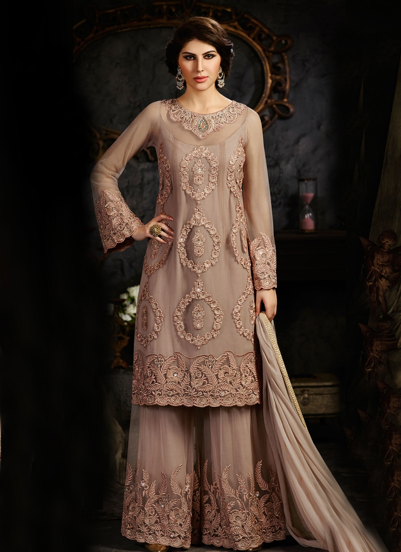 Integral Embroidery Work Palazzo Style Designer Suit