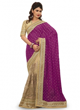 Integral Faux Georgette And Net Half N Half Wedding Saree