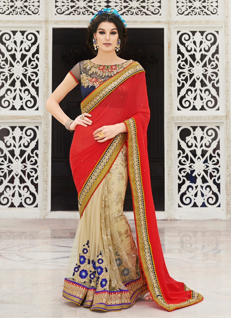 Integral Floral And Lace Work Half N Half Wedding Saree
