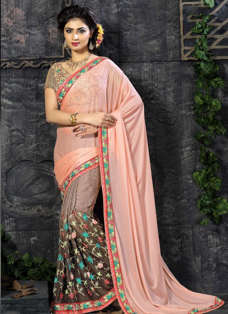 Integral Floral Work Half N Half Designer Saree